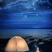 Camping Tent By The Lake At Night Poster by Jill Battaglia