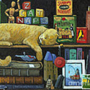 Cat Naps - Old Books Oil Painting Poster by Linda Apple