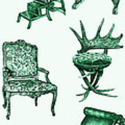 Chair Poster In Green  Poster by Adendorff Design