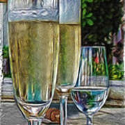 Champagne At The Beach Poster by Joan  Minchak
