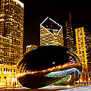 Chicago Bean Cloud Gate At Night Poster by Paul Velgos