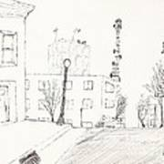 City Street - Sketch Poster by Robert Meszaros