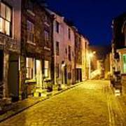 City Street At Night, Staithes Poster by John Short