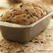 Close Up Of Rustic Bread In Loaf Pan Poster by Adam Gault