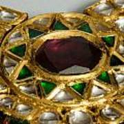 Close Up Of The Middle Pendant Section Of A Green And White Stone Inlaid Necklace Poster by Ashish Agarwal