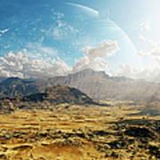 Clouds Break Over A Desert On Matsya Poster by Brian Christensen