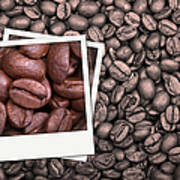Coffee Beans Polaroid Poster by Jane Rix
