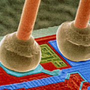 Coloured Sem Of Integrated Circuit Micro-wires. Poster by Power And Syred