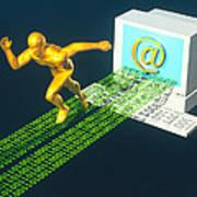Computer Artwork Of E-mail As A Sprinter Poster by Laguna Design