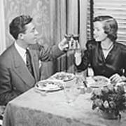 Couple Toasting At Dinner Table, (b&w), Elevated View Poster by George Marks