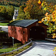 Covered Bridge In Vermont Poster by Rafael Macia and Photo Researchers