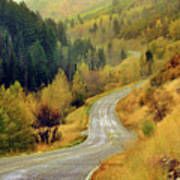 Curve Mountain Road With Autumn Trees Poster by Utah-based Photographer Ryan Houston