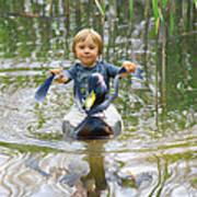 Cute Tiny Boy Riding A Duck Poster by Jaroslaw Grudzinski