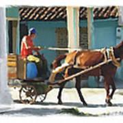 daily chores small town rural Cuba Poster by Bob Salo