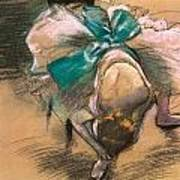 Dancer Tying Her Shoe Ribbons Poster by Edgar Degas