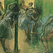 Dancers Rehearsing Poster by Edgar Degas