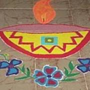 Decorative Earthen Diya Rangoli Poster by Sonali Gangane