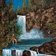 Deer Falls Poster by Gloria Jean