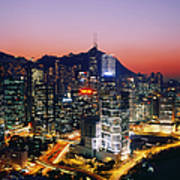 Downtown Hong Kong At Dusk Poster by Jeremy Woodhouse