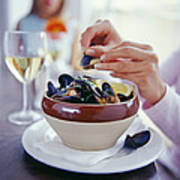 Eating Mussels Poster by David Munns