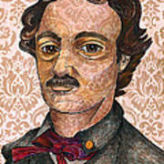 Edgar Allan Poe After The Thompson Daguerreotype Poster by Nancy Mitchell