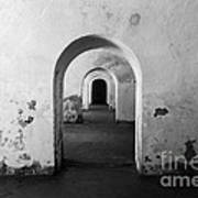 El Morro Fort Barracks Arched Doorways San Juan Puerto Rico Prints Black And White Poster by Shawn O'Brien