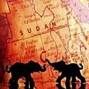Elephant Silhouettes In Front Of A Map Poster by Chris Knorr