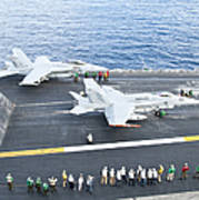 Fa-18 Aircraft Prepare To Take Poster by Stocktrek Images