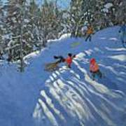 Falling Off The Sledge Poster by Andrew Macara