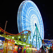 Ferris Wheel At Night Poster by Stelios Kleanthous