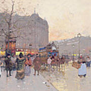 Figures In The Place De La Bastille Poster by Eugene Galien-Laloue
