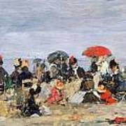 Figures On A Beach Poster by Eugene Louis Boudin