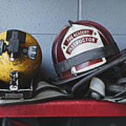 Fireman Helmets And Gear Poster by Skip Nall