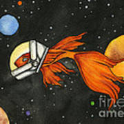 Fish In Space Poster by Nora Blansett