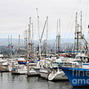 Fishing Boats In Pillar Point Harbor At Half Moon Bay California . 7d8208 Poster by Wingsdomain Art and Photography