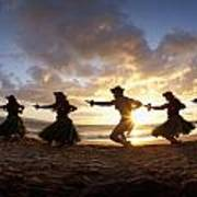 Five Hula Dancers At The Beach At Palauea Poster by David Olsen