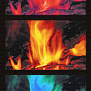 Flames Triptych Poster by Steve Ohlsen