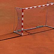 Football Net On Red Ground Poster by Daniel Kulinski