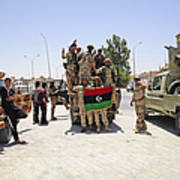 Free Libyan Army Troops Pose Poster by Andrew Chittock