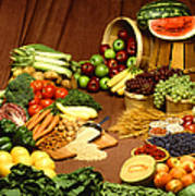 Fruit And Grain Food Group Poster by Photo Researchers