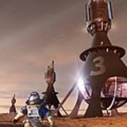 Future Mars Exploration, Artwork Poster by Detlev Van Ravenswaay