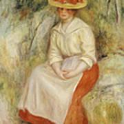 Gabrielle In A Straw Hat Poster by Pierre Auguste Renoir