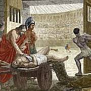 Galen Treating A Gladiator In Pergamum Poster by Sheila Terry