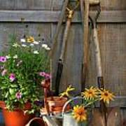 Garden Shed With Tools And Pots  Poster by Sandra Cunningham
