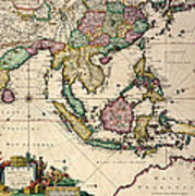 General Map Extending From India And Ceylon To Northwestern Australia By Way Of Southern Japan Poster by Nicolaes Visscher Claes Jansz