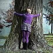Girl Hugging Tree Trunk Poster by Joana Kruse