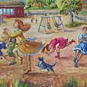 Girls Playing Horse Poster by Dawn Senior-Trask