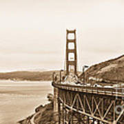Golden Gate Bridge In Sepia Poster by Betty LaRue