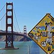 Golden Gate Stickers Poster by Cedric Darrigrand