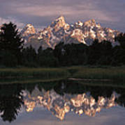 Grand Teton Range And Cloudy Sky Poster by Tim Fitzharris